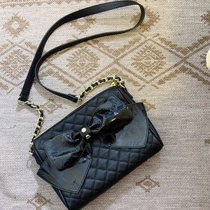 Betsy Johnson Patent Leather Bow Quilted Crossbody